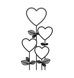 Figure heart balloons trees icon vector