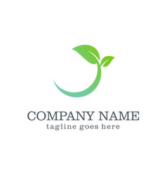 green leaf organic design logo vector image vector image