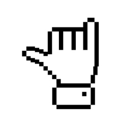 outline pixelated hand with rock symbol vector image vector image