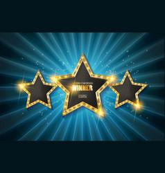 retro light sign three gold stars vector image vector image