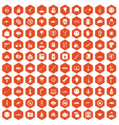 100 oppression icons hexagon orange vector image vector image
