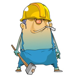 Cartoon man working in a helmet and with a hammer vector image vector image