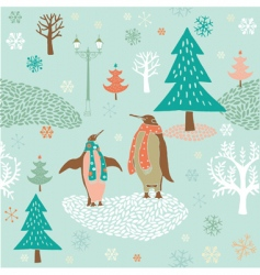 Christmas card with penguins vector image