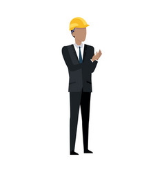 man in black suit and yellow helmet clapping hands vector image