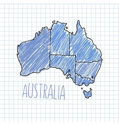 Pen hand drawn Australia map on paper vector image vector image