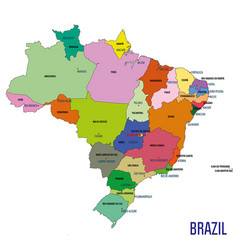 political map of brazil vector image vector image