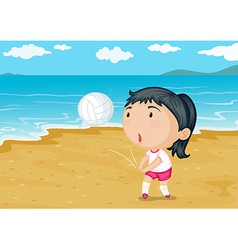 A girl playing ball on a beach vector image vector image
