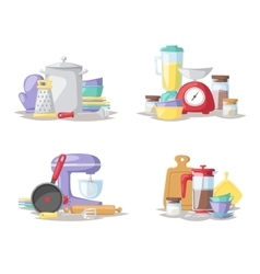 Kitchen cook tools set flat vector image