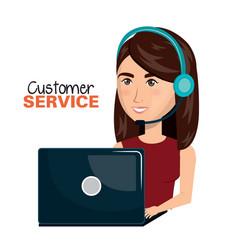 laptop woman customer service call center design vector image