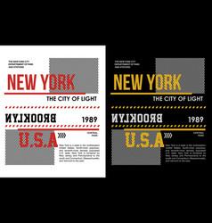 new york t-shirt graphic vector image