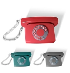 old phone in different colors vector image