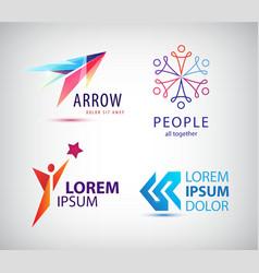 set of abstract logo design arrow vector image vector image