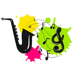 silhouette saxophone with music notes vector image vector image