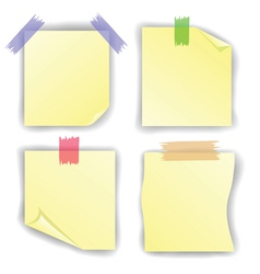 Yellow notice papers vector image