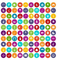 100 amusement icons set color vector