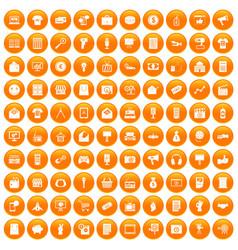 100 marketing icons set orange vector