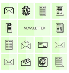 14 newsletter icons vector