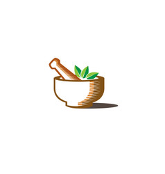 Abstract herbal pharmacy mortar logo vector