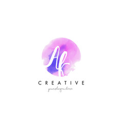 ak watercolor letter logo design with purple vector image vector image