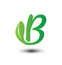 B green leaves letter ecology logo vector
