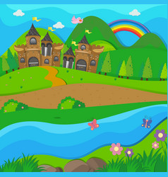 Background scene with brown castle by the river vector