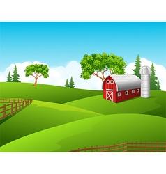 Beautiful farm landscape background vector image