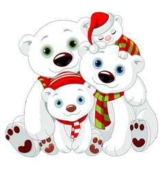 Big Polar bear family at Christmas vector image