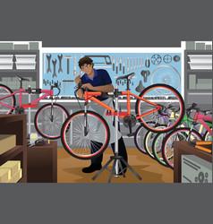 bike repairman repairing a bicycle in his shop vector image