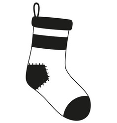 Black and white old christmas stocking silhouette vector