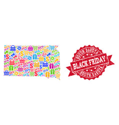 Black friday collage of mosaic map of south dakota vector