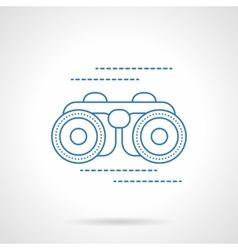 Blue flat line binoculars icon vector image