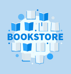 Bookstore round blue flat vector