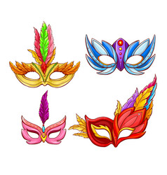 Bright face masks for venetian carnivals vector