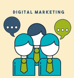 Business people speech bubble digital marketing vector