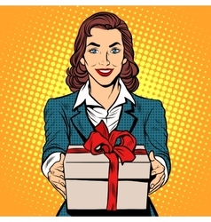 Business woman with gift box vector