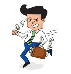 Businessman Holding A Fully Money Briefcase vector