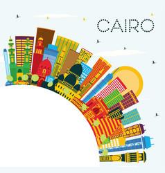 Cairo egypt city skyline with color buildings vector