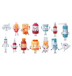 Cartoon medicine mascot cute happy pills vector