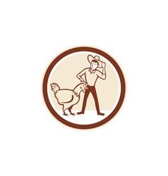 chicken farmer feeder circle cartoon vector image