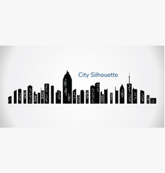 city silhouette night town on transparent vector image