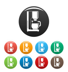 Coffee maker icons set color vector