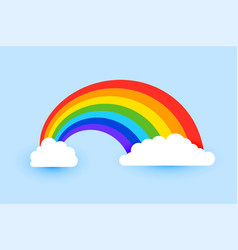 colorful rainbow with clouds background vector image