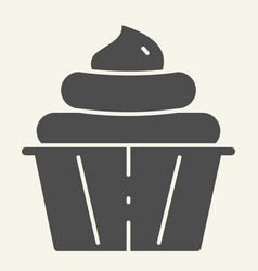 cupcake solid icon confectionery vector image