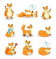 cute little fox set funny pup cartoon character vector image