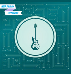 electric guitar icon on a green background with vector image