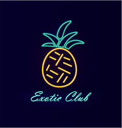 Elite club neon pineapple vector