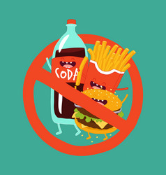 Fast food is prohibited vector