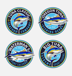 Fishing labels badges emblems and design vector