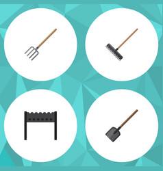 Flat icon dacha set of barbecue harrow shovel vector