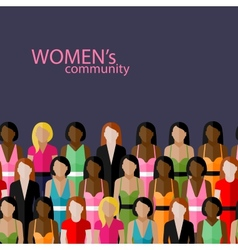 flat of women community with a large group of vector image